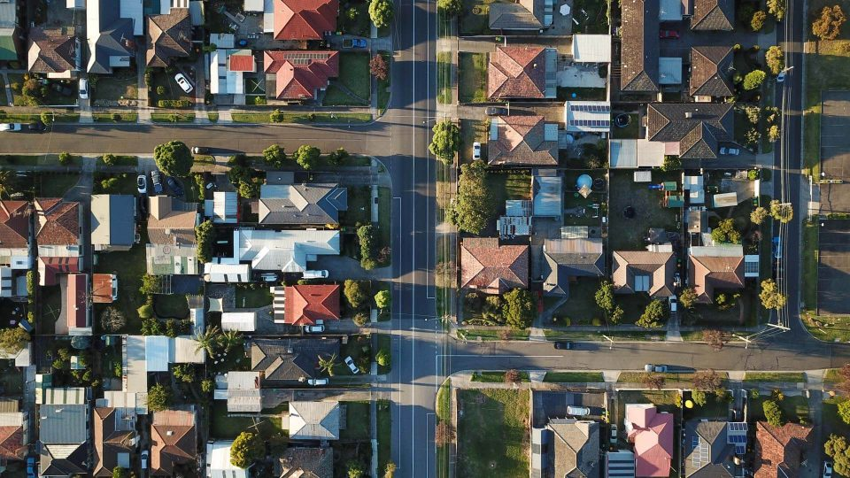 Aerial view of suburban houses. (Stock Photo)