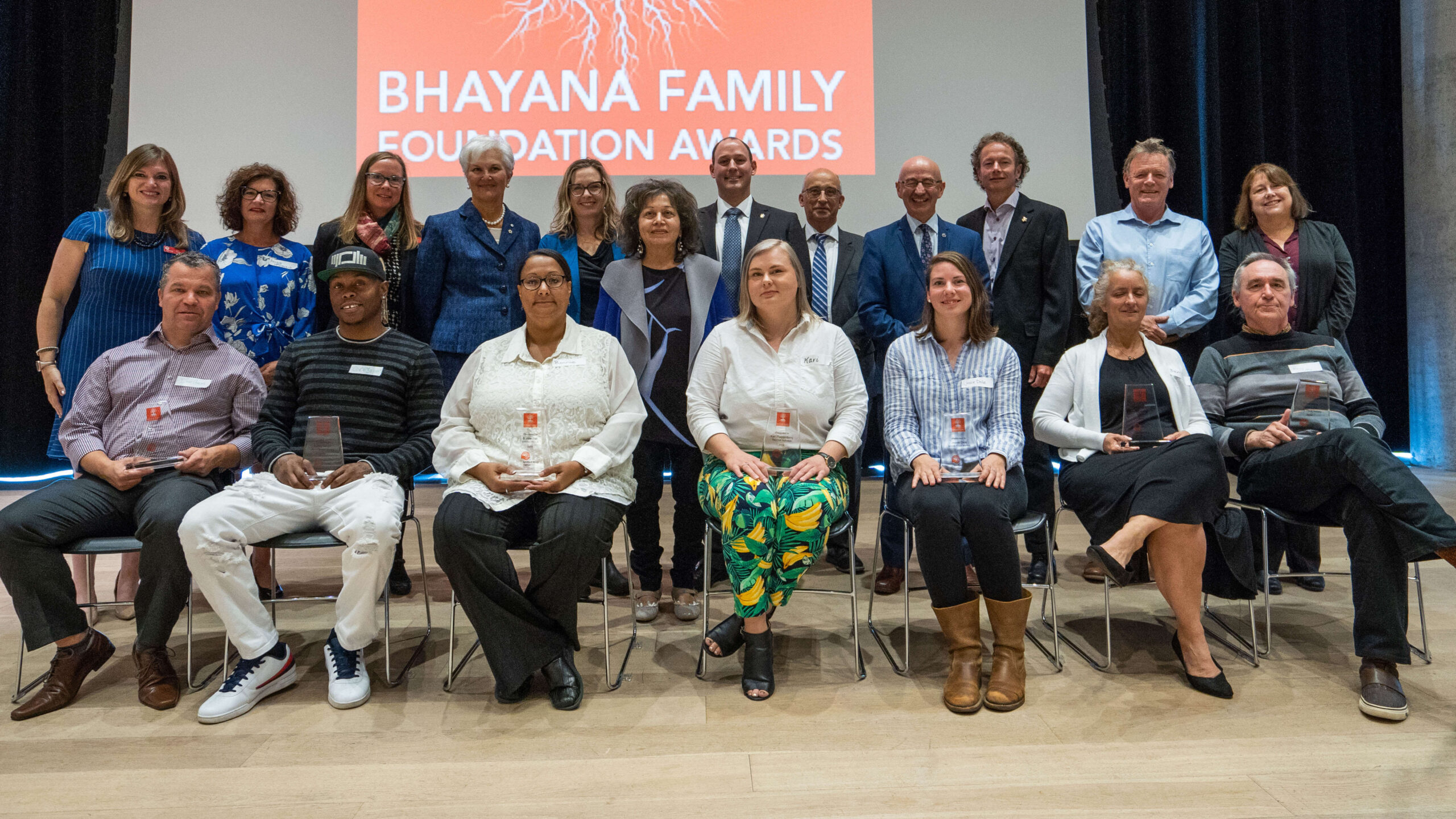 Group photo of the winners of the 2019 Bhayana Family Foundation Awards and their organizations' executive directors