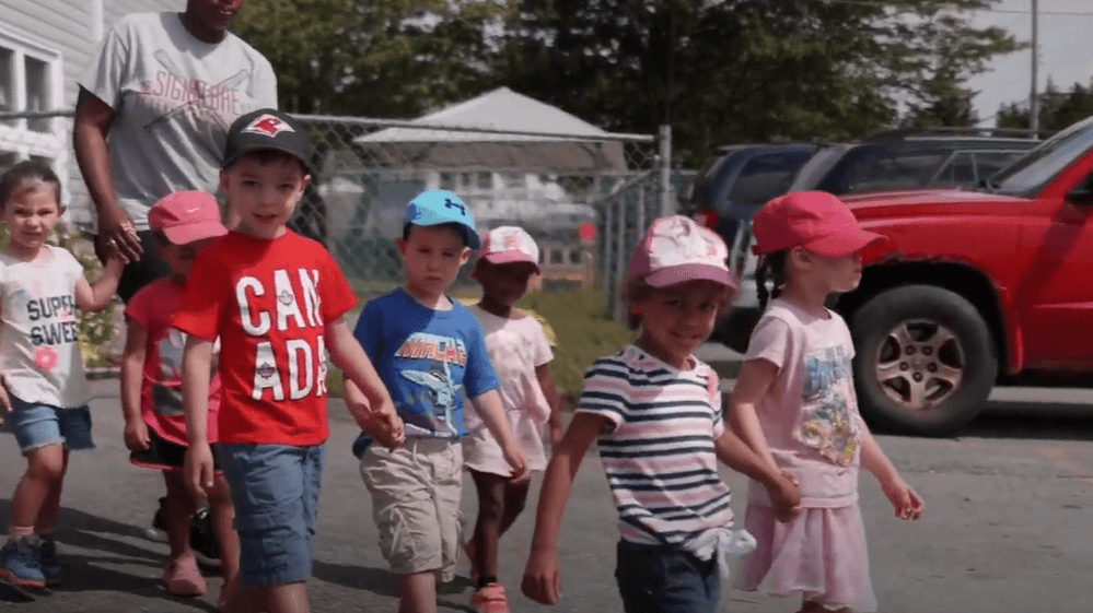Children from East Preston Daycare on a walk