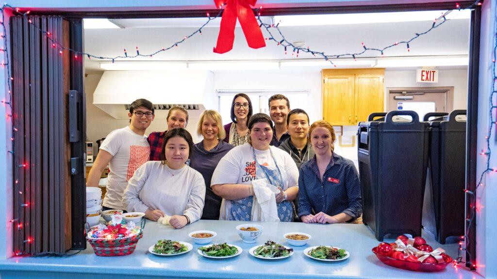 Group of volunteers at a neighbourhood kitchen