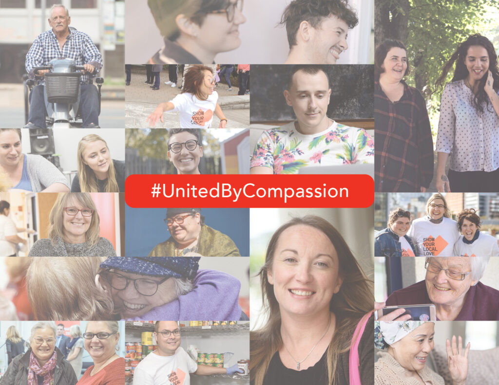 collage of photos and #UnitedByCompassion in red box