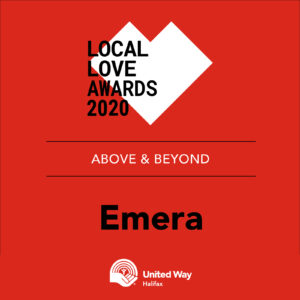 Red graphic that says: Local Love Awards 2020, Above and Beyond Award: Emera