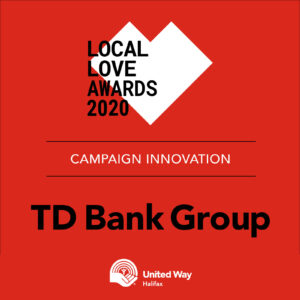 Red background with the words: Local Love Awards 2020, Campaign Innovation, TD Bank Group