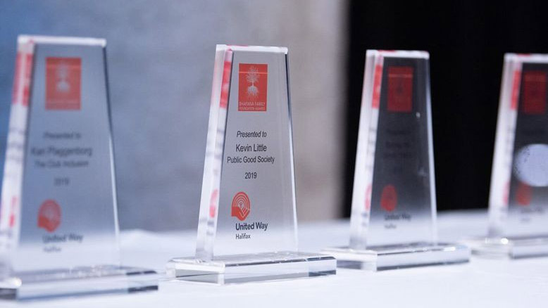 Clear plastic awards with names engraved