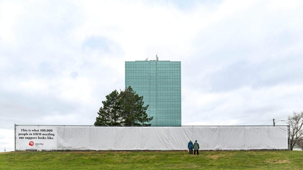 107-foot long banner displays 100,000 randomly generated names