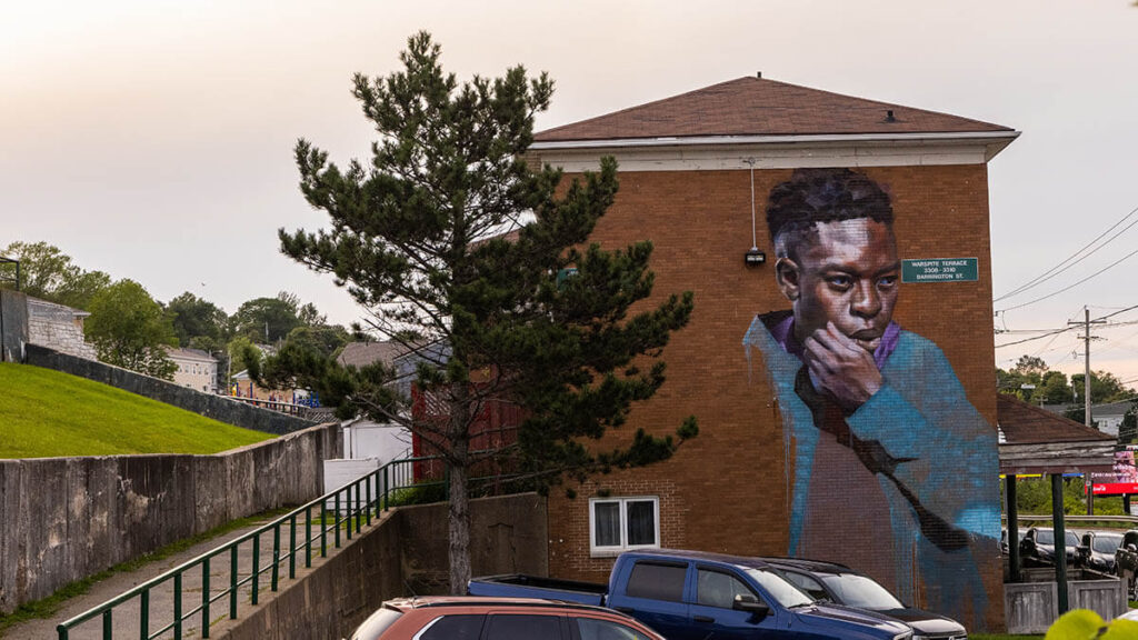 Mural of a black man on the side of a building in north-end Halifax