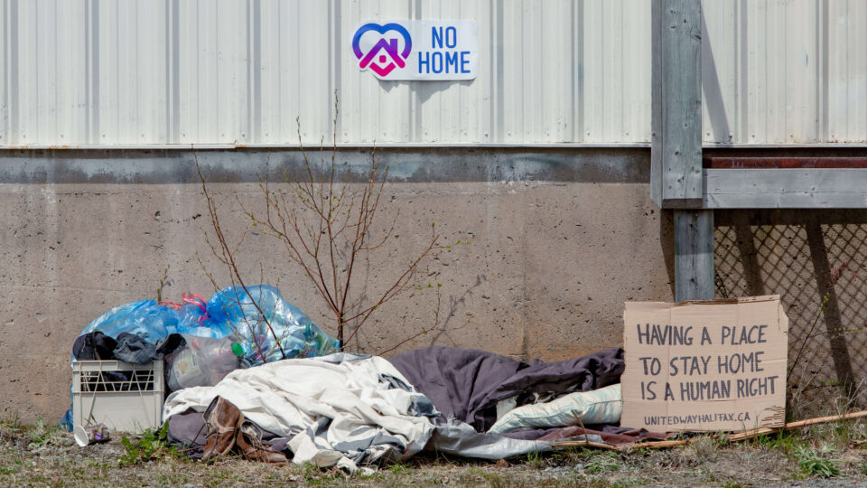 homelessness encampment with